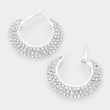 • 3-Row crystal rhinestone hoop earrings