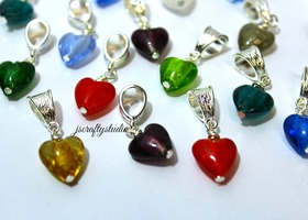 Gorgeous Lampwork Heart Dangles