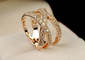 18K Rose gold GP Crystal Cross Ring Size 6,7,8,9