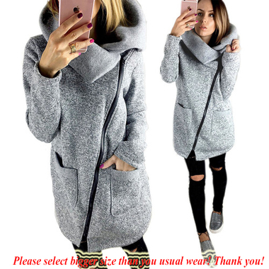 S-5XL Womens Gray Zipper Coats Pockets Collared Jacket Thin Outwear Ladies Top