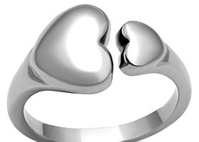 Stainless Steel Double Heart Ring, Sizes
