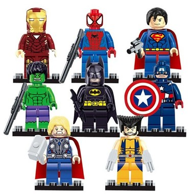 Set of 8pcs Marvel Super Hero Minifigures Building Blocks 4.5cm/1.75