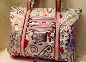 Coach Poppy Graffiti Print Glam Tote