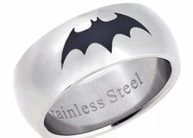 Stainless Steel Batman Ring, Size 12