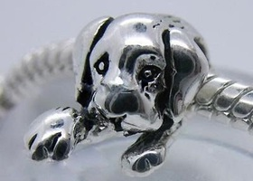 15~~Silver tone Dog Spacer Bead Charms