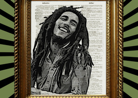 Bob Marley Laughing Book Page Print