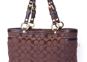 COACH Brown Signature Jacquard & Leather Gallery Tote