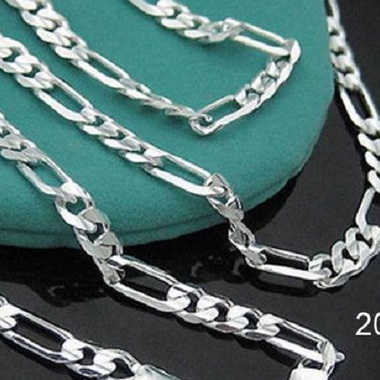 Italian Sterling Silver Figaro Chain Necklace