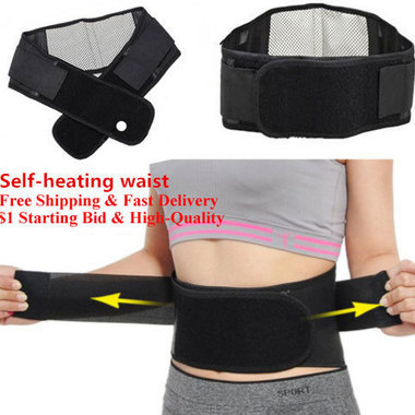 Free Shipping !! Tourmaline Self-heating Magnetic Therapy Waist Belt Lumbar Supp