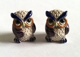 * Purple Glazed Ceramic Owl Beads