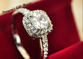 5/6/7/8/9: 18K Platinum Ptd Princess Cut Zircon Ring