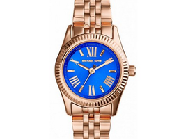 MK Petite Lexington Rose Gold, Cobalt Face