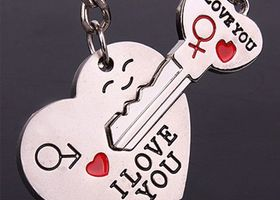 Romantic Couple KeyFob Keychain Set ~ Key & Heart