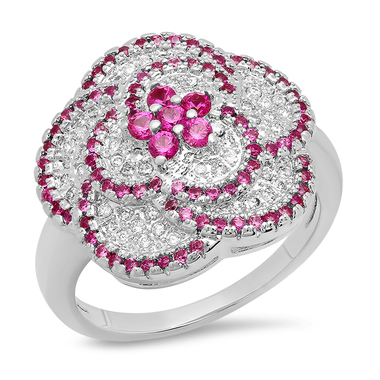 18k White Gold Plated 1.54 Ctw Cz And Red Corundum Flower Ring