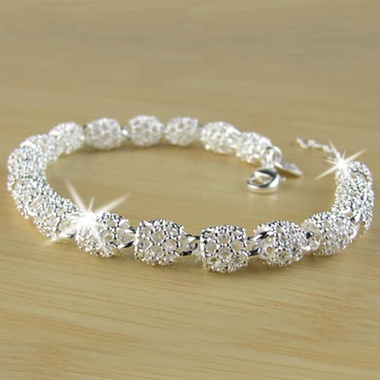 Fashion 925 Sterling Silver Hollow Beads Link Chain Bracelets Womens Elegant Par