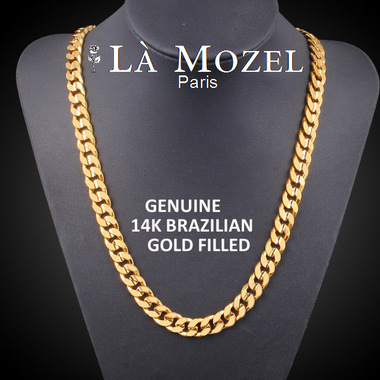 Luxurious Italian Handcrafted 14K Brazilian Gold Filled Flat Cuban Chain Necklac