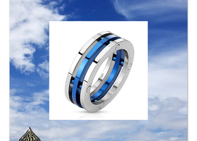 **SZ 8/10 Blue Skies Stainless Steel Ring