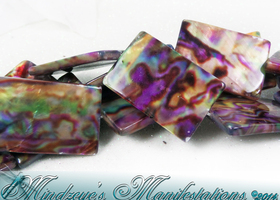 {!} Rainbow Printed Rectangle Shell Beads 20x30mm  #166
