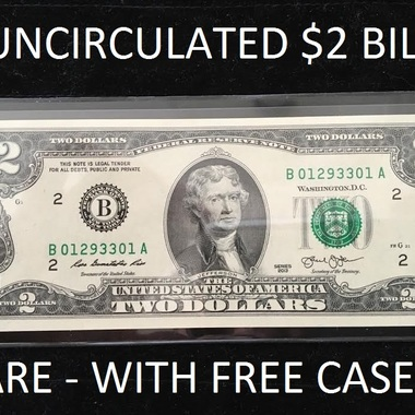 RARE Authentic Uncirculated $2 Dollar Bill in FREE Case - USA SELLER!!!