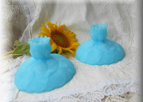 Fenton Blue Custard Candlesticks