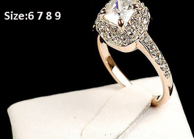 Gold 18K Swarovski Ring Size 5.5 6 7 8 9 Available