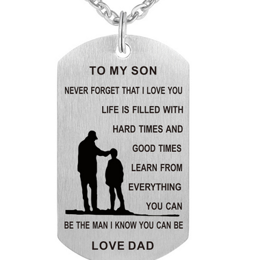 Europe and America creative alloy tag necklace, son love father and son Pendant