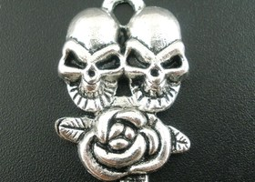 * Double Skulls and Rose Pendant/Charms