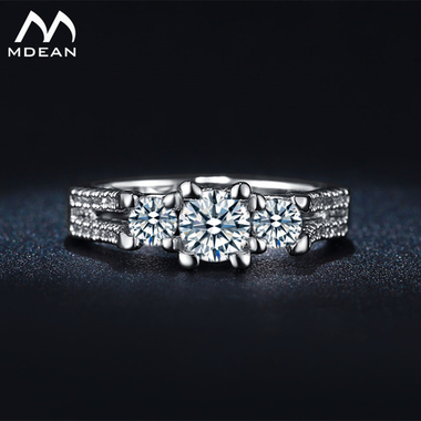 MDEAN Wedding Rings For Women White Gold Plated Jewelry Engagement Vintage Ring