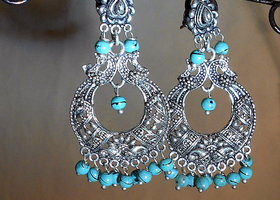 Large Gypsy Peacock Earrings w/Genuine Turquoise Beads