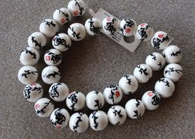 Porcelain Beads with Black & Red Chinese Pattern