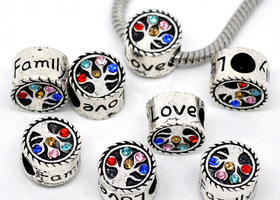 BMGM~10 Family Tree European Rhinestone Slider Beads