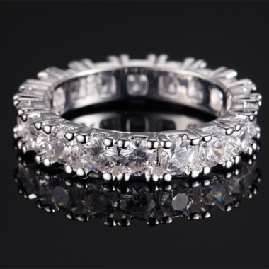 Classic Shinning AAA Zircon Hoop Ring In White Gold Filled
