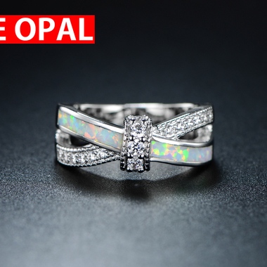 18K White Gold Filled & Fire Lab Created Opal CZ Crisscross Ring