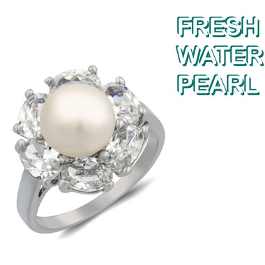 White Gold Plated Freshwater Pearl Ring Oval Shaped Stone