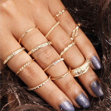 12pcs/set Simple Carved Flowers Gold Color Ring Sets Fingers Jewelry Rhinestone