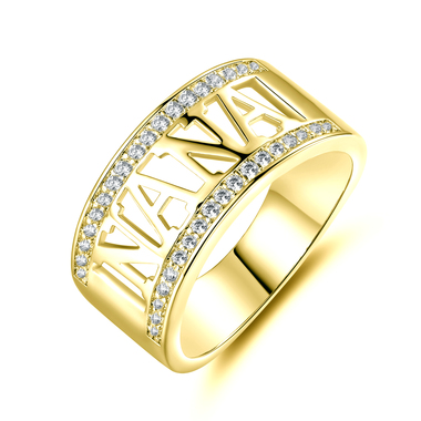 18K Gold ptd NANA wCZ Ring SZ5