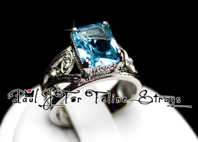 5 6 7 8 Radiant Cut 3.49ct Aquablue Ring