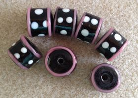 Black Barrel Lampwork Beads with White Polka Dots