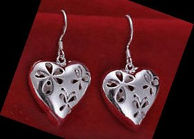 Beautiful Silver Filigree Heart Earrings