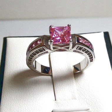Women Pink Diamonique Wedding Ring