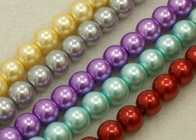*10 Strands Asst Color 8mm Glass Pearl Beads