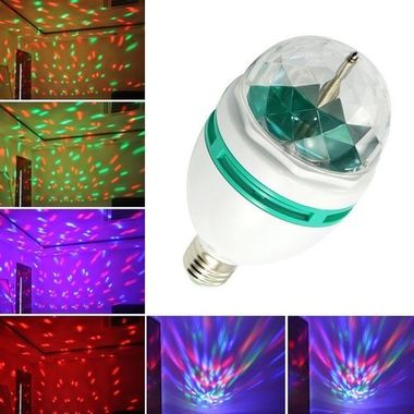 RGB Crystal Ball Rotating LED Stage Light Bulb for Club DJ Disco Party