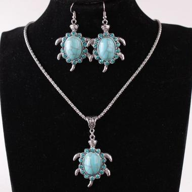Classic Genuine Turquoise Turtle Earring And Necklace Set