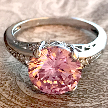 Stunning 5 ct Pink Topaz Sterling Silver 925 Ring
