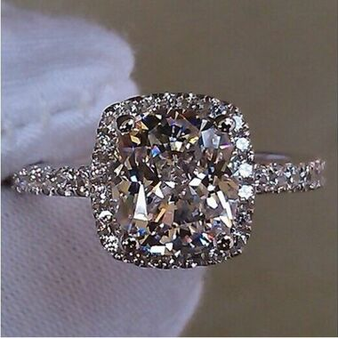 Womens Vintage White Gold Filled Cz Round Ring A04
