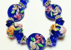 * Cobalt Blue Garden Handmade Lampwork Glass Bead Set