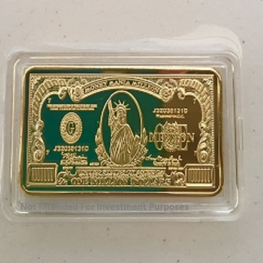 Beautiful Uncirculated 1 OZ Gold Clad Million Dollar Collectors Bar