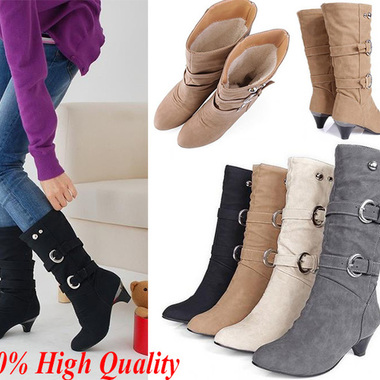 Women's Mid Calf Knee High Round Toe Slouch Comfort Casual Thick with Boot HOT