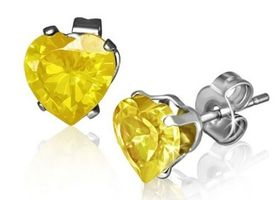 Yellow Crystal Heart Earrings
