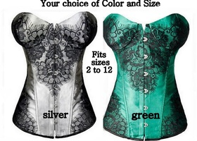 PICK 1- Floral  Lace Up Corset - Sizes 2 to 12